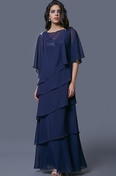 Layered Chiffon V-Neck Mother of the Bride Dress With Sequined Bust and Matching Cowl