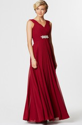 Sleeveless Ruched V-Neck Chiffon Bridesmaid Dress With Waist Jewellery