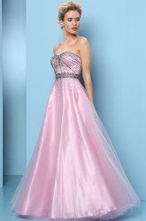 A-Line Beaded Long Sleeveless Sweetheart Tulle&Satin Prom Dress