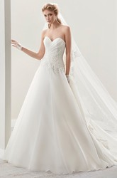 Sweetheart Pleated A-Line Wedding Dress With Side Appliques And Back Ruffles