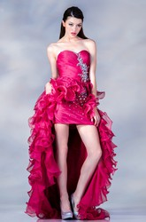 A-Line High-Low Sweetheart Sleeveless Organza Dress With Criss Cross And Beading