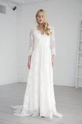 Elegant A-line Long Sleeve Lace Wedding Dress With V-neck And Deep V-back