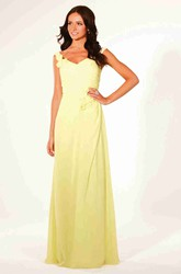 V-Neck Maxi Draped Floral Chiffon Bridesmaid Dress With Ruching And Corset Back