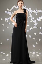 Empire One Shoulder Chiffon Long Bridesmaid Dress With Draping