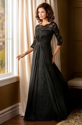 3-4 Sleeved A-Line Mother Of The Bride Dress With Beadings And Illusion Lace Style