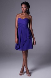 A-Line Short Sleeveless Sweetheart Draped Chiffon Bridesmaid Dress