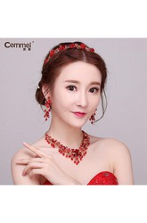 Korean Bride Headdress Red Crystal Flowers Wedding Hair Ornaments Wedding Dress Dress Accessories