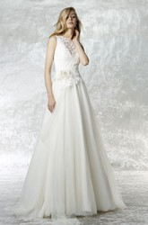 Jewel Maxi Appliqued Tulle Wedding Dress With Court Train And Illusion