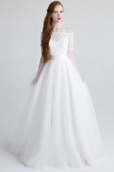 Ball Gown Floor-Length Appliqued Short-Sleeve Off-The-Shoulder Tulle&Satin Wedding Dress With Bow