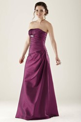 Strapless Satin Bridesmaid Dress With Ruching