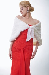 Faux Fur Bridal Cape With Lace Embellishment And Satin Bow