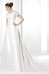 Bateau-Neck Short-Sleeve Satin Wedding Dress With Lace