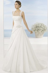 A-Line Sleeveless Floor-Length Scoop Draped Satin Wedding Dress With Beading And Waist Jewellery