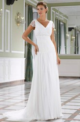 Long V-Neck Beaded Cap-Sleeve Chiffon Wedding Dress With Ruching And V Back