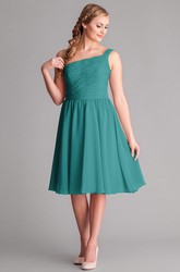 Knee-Length Sleeveless Ruched One-Shoulder Chiffon Bridesmaid Dress