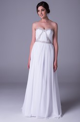 Sheath Ruched Sleeveless Floor-Length Strapless Chiffon Wedding Dress With Beading