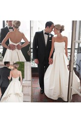 A Line Strapless Satin Button Zipper Wedding Gown