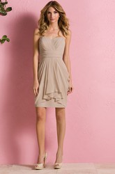 Delicate Sweetheart Short Sheath Bridesmaid Dress With Ruffles