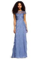 Sheath Lace Scoop-Neck Short-Sleeve Floor-Length Chiffon Bridesmaid Dress With Draping