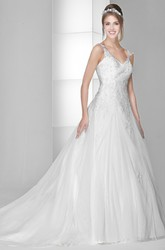 Ball Gown Floor-Length V-Neck Sleeveless Beaded Tulle&Satin Wedding Dress With Appliques