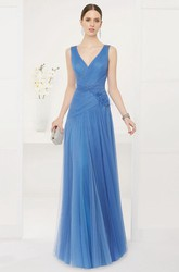 V Neck A-Line Tulle Long Prom Dress With Crystal Back Straps And Keyhole
