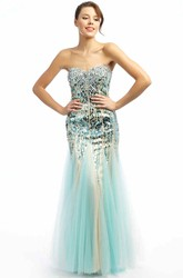 Trumpet Beaded Long Sleeveless Sweetheart Sequins&Tulle Prom Dress