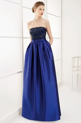 Strapless A-Line Pleated Taffeta Long Prom Dress With Sequined Lace Bodice