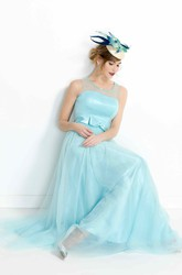 Sleeveless Bowed Floor-Length Scoop-Neck Tulle&Satin Prom Dress With Beading