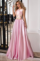Scoop Floor-Length Beaded Pleated Satin Prom Dress With Appliques