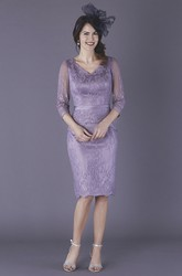 Knee Length 3/4 Illusion Sleeve Pencil Satin Mother Of The Bride Dress