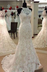 Mermaid Trumpet High Neck Lace Zipper Wedding Dress