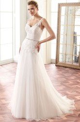 A-Line Floor-Length Sleeveless Appliqued V-Neck Lace Wedding Dress With Pleats And Waist Jewellery