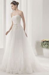 Strapless Tulle Ball Gown With Lace And Belt