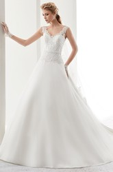V-Neck Back-Bow A-Line Satin Gown With Lace Bodice And Low-V Back