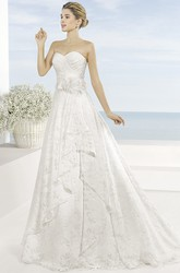A-Line Sweetheart Lace Wedding Dress With Criss Cross And Draping