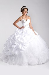 Tulle And Taffeta Ball Gown With Pick-Ups And Lace-Up Back