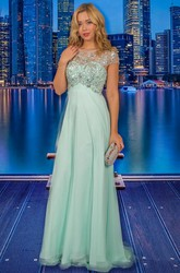 A-Line Empire Scoop-Neck Beaded Long Cap-Sleeve Chiffon Prom Dress