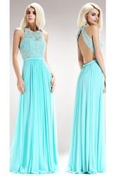 A-Line Long Jewel-Neck Sleeveless Chiffon Backless Dress With Pleats And Beading