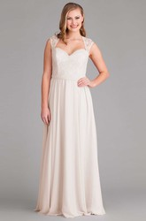 V-Neck Lace Cap Sleeve Chiffon Bridesmaid Dress With Bow And Keyhole