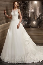 Illusion Jewel-neck Tiers-train A-line Wedding Dress with Cap sleeves and Keyhole Back