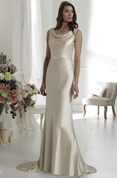 Sheath Cowl-Neck Sleeveless Satin Wedding Dress With Waist Jewellery