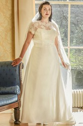 Scalloped High Neck Short Sleeve Taffeta Bridal Gown With Lace Top
