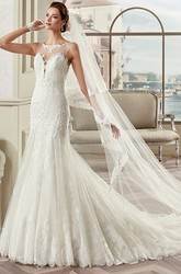 Jewel-Neck Mermaid Lace Gown With Cap Sleeves And Illusive Design