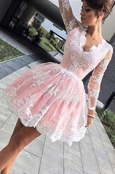 A-line Ball Gown Short Mini Long Sleeve Scalloped V-neck Pleats Ruching Lace Homecoming Dress