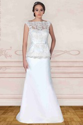 Maxi Bateau-Neck Appliqued Cap-Sleeve Satin Wedding Dress