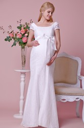 Cap-Sleeve Lace Mermaid Maternity Wedding Dress With Squared Neck and Sash