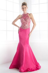 Mermaid Maxi High Neck Sleeveless Satin Illusion Dress With Beading