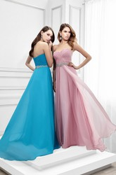 Floor-Length Sleeveless Sweetheart Criss-Cross Chiffon Prom Dress