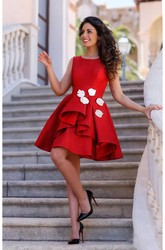 A-line Knee-length Sleeveless Bateau Flower Ruffles Satin Homecoming Dress