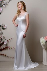 Satin Sheath Bateau Neck Wedding Dress With Lace Appliques